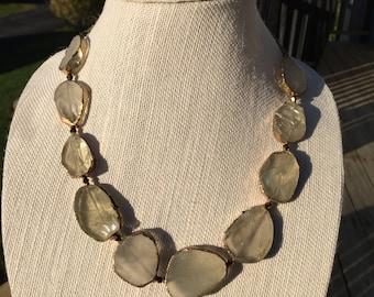 Clear Lemon Quartz Necklace