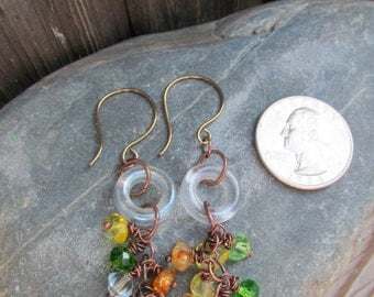 Crystal bead Cluster dangle earrings, Boho chic, Gift for her