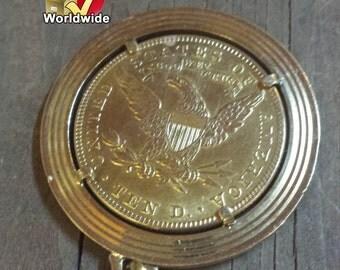 US Gold Ten Dollar Coin, Real 22k gold antique 1901 Liberty Head 10 Dollar Eagle Gold Coin Pendant 3/4 oz.