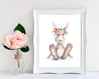 Bunny print ,Bunny nursery art ,Bunny nursery print ,Nursery prints girl, Nursery watercolor ,Rabbit nursery Kids room decor Baby art prints