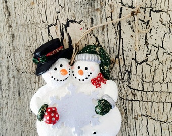 Christmas Ornament: Snowman with Snow flake - Green and Red