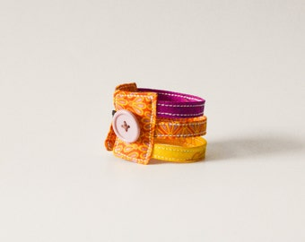 Orange cuff bracelet,  purple fabric bracelet, yellow cuff bracelet, fabric jewelry,