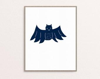 Bat Halloween Printable, Halloween Art, Halloween Home Decor, Bat Print, Bat Illustration, Halloween Gallery Wall Art, Modern Halloween