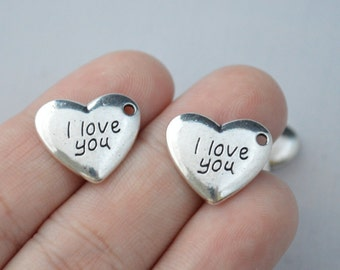 5 Pcs Heart Charms I Love You Charms Antique Silver Tone 17x15mm - YD1072