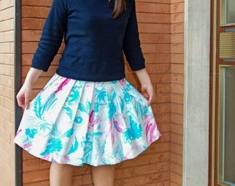 50 years skirt, short skirt, floral skirt, pleated skirt, summer skirt, wide skirt, mini skirt.