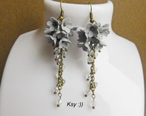 Gray Cluster Earrings Polymer Jewelry Flower Cluster Earrings Crystal Earrings Flower Jewelry Long Gray Earrings Bridesmaid Earrings