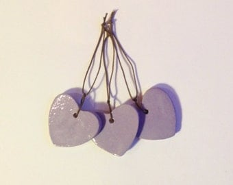 3 X ceramic heart shaped valentines tags lilac pottery hangers hanging charms
