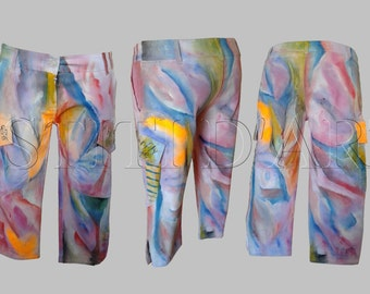 PAINTED JEANS for mens vintage clothing hippie clothing plus size harem pants harem pants for mens bell bottoms pants for womens clothing