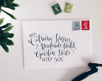 Handwritten modern calligraphy wedding envelopes - Marlborough style