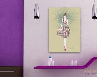 FLORAL SUMMER - fashion illustration, digital art, drawing, print art, stretched, hardboard, decorative art, ready to hang, canvas, frame
