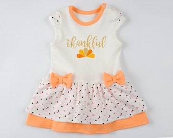 FIRST THANKSGIVING Baby Girl Outfit, Orange/Cream/Polka Dots Baby Girl Bodysuit Dress, THANKFUL Baby Dress, Newborn to 12-18 m, Thanksgiving