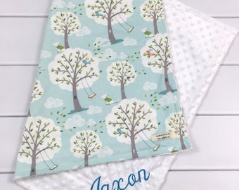 Personalized Baby Blanket for boys - Minky Baby Blanket - Woodland Blanket - Embroidered Baby Blanket - Monogrammed Baby Gift -New baby Gift