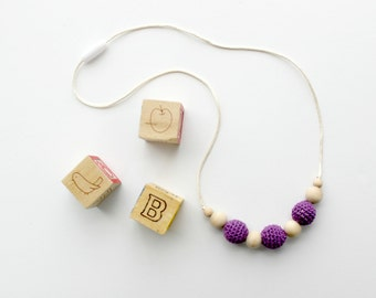 Purple Nursing Necklace for Mom Crochet Teething Necklace Baby Safe Jewelry Natural Baby Gift for New Mom Wood Bead Necklace Chewbead