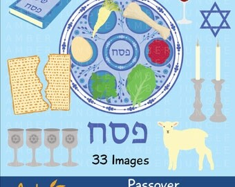 Passover Clipart: Passover Clip Art Seder Plate Pesach Jewish Holiday Judaism Scrapbook Kit Printable Stickers Card Decorations