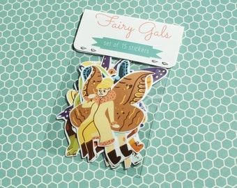 Fairy Gals - Set of 15 Stickers - Fairy Stickers - Hand Made Stickers - Hand Drawn Stickers - Cute Stickers