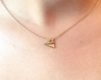 SALE... Paper Airplane Necklace, Cute, Geometric Airplane Necklace, Simple