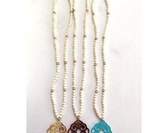 Katherine Pendant Beaded Necklace - Long Beaded Necklace - Acrylic Pendant Beaded Necklace