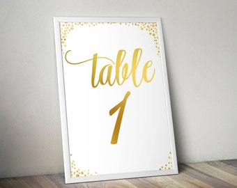 5x7- Table Numbers for Wedding Reception or Event - White & Gold
