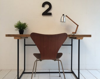Industrial reclaimed solid wood desk Vintage style