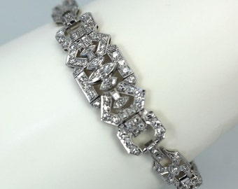 "Art Deco Diamond Platinum Bracelet 7 1/4"" Long Approx. 4 Carats 90/10"