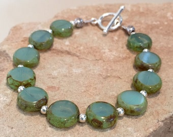 Green and silver bracelet, Czech glass coin beads, sterling silver bracelet, statement bracelet, gift for her, gift for wife