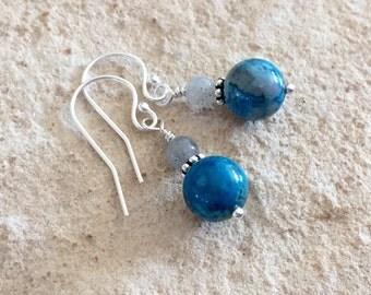 Blue drop earrings, agate earrings, labradorite earrings, sterling silver earrings, blue dangle earrings, sundance style earrings