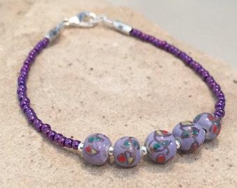 Purple bracelet, ceramic bead bracelet, floral design bracelet, Toho seed bead bracelet, sterling silver bracelet, gift for her