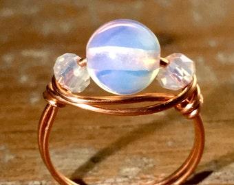 Opalite Copper Ring - Handmade