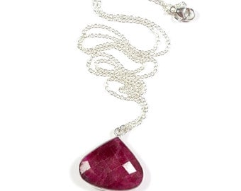 Ruby Necklace, Ruby Pendant Necklace, Silver Ruby Jewelry, Ruby Red Necklace, Red Gemstone Necklace, July Birthstone, Sterling Silver