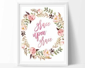 Grace upon grace, Bible verse wall art, Bible verse print,  Christian wall art, Watercolor calligraphy print wall decor