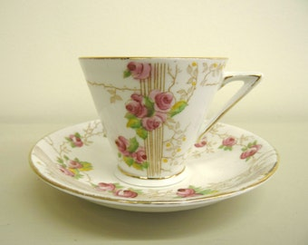 1940 English Rose Cup and Saucer