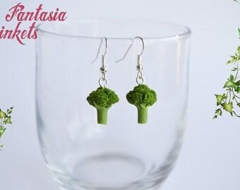 Tiny Broccoli Earrings - Vegan Vegetarian Statement - Stainless Steel Hypoallergenic Hook Earrings - Miniature Food Jewelry