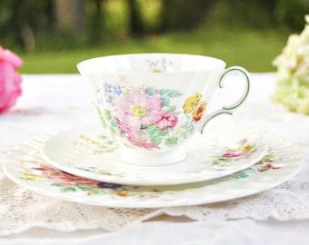 Vintage Royal Doulton Arcadia Teacup Trio - Floral Teacup Trio, Tea Party Teacup Trio, English Teacup Trio, Pretty Teacup Trio