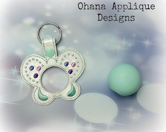 Butterfly  Sphere Lip Balm Holder key chain, key fob, snap tab  The Hoop Designs Machine Embroidery Designs
