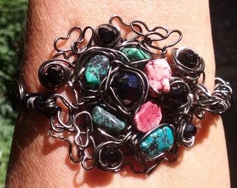 "Wire Jewelry, Bracelet,  Handmade-  Magnesite, Crystal, Heart, Spiral, Hematite, Design (L- 8"")"