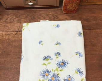 Vintage Sheet Linens Double/Full Pretty Blue with Blue Flowers