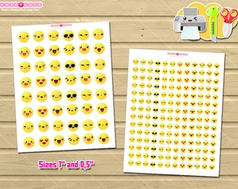 emoji printable planner stickers kawaii emoticons stickers for your erin condren mambi happy planner printable filofax kikki k