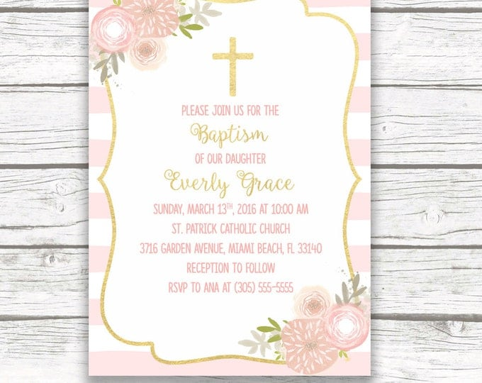 Baptism Invitation Girl, Pink and Gold Baptism Invitation, First Communion Invitation Girl, Christening Invite, Floral Cross Printable