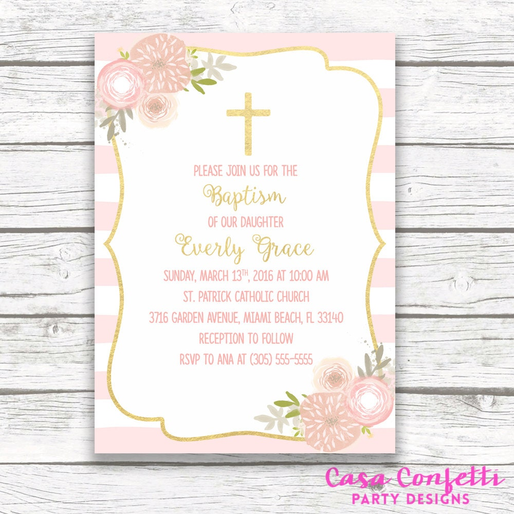 Baptism invitation girl pink and gold baptism invitation first baptism invitation girl pink and gold baptism invitation first communion invitation girl christening invite floral cross printable solutioingenieria Choice Image