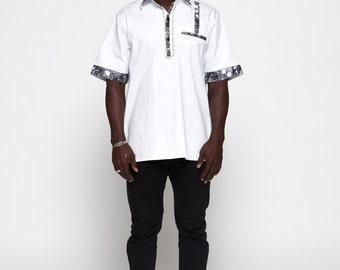 African Ankara Woodin White Collared Shirt