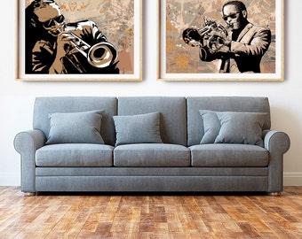 Jazz Print, Jazz Art, Music Art, Jazz Poster, Music Print, Trumpet Art, Large Art, Wall Art, Home Decor, Neutral Tone, Drawing, Illustration