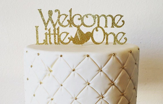 Baby Shower Cake Topper - Gold Glitter Cake Topper - Baby Cake Topper - Cake Topper - Gold Party Decorations - Glitter Cake Topper