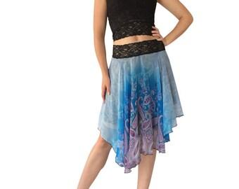 Turquoise-Purple Paisley Chiffon Circle Tango Skirt