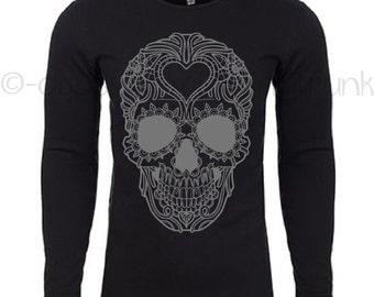 Sugar Skull Shirt - Skull Thermal - Sugar Skull Shirt - Day of the Dead Top - Skull Shirt - Skull Top - Day of the Dead Top - BRAND NEW
