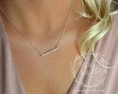Small Diamond Bar Necklace, CZ bar, Crystal Bar Necklace, skinny bar necklace, bridesmaid necklace, wedding necklace, pave necklace
