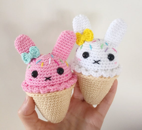 Amigurumi Ice Cream Pattern : Bunny Ice Cream PDF Pattern amigurumi by SuperCuteDesignShop