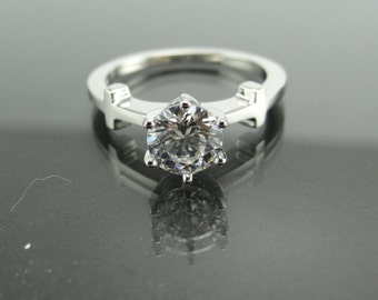 14K White Gold 1 Carat Forever ONE Moissanite Solitaire Engagement Ring with Cross Detailing- 6 Prong Moissanite Solitaire Engagement Ring