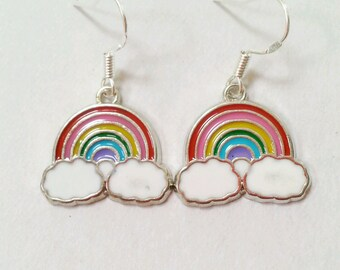 rainbow earrings, rainbow enamel earrings, rainbow jewelry, colorful earrings