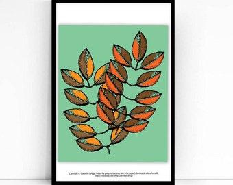 Brown Orange Fall Leaf Print - 8x10 art print - Autumn Decor - Fall Decoration - Leaf Art Print - Originally pen and ink- Fall Leaves