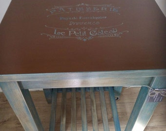 Hand painted Kitchen Trolley in Rustic Style.